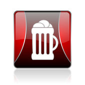 Beer red square web glossy icon — Stock Photo