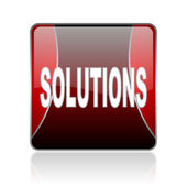 Solutions red square web glossy icon — Stock Photo