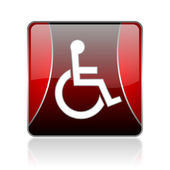 Accessibility red square web glossy icon — Stock Photo