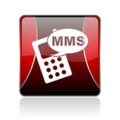 Mms red square web glossy icon — Stockfoto