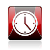 Clock red square web glossy icon — Stock Photo