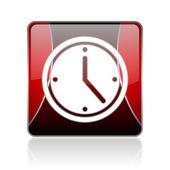 Relógio quadrado vermelho ícone brilhante de web — Fotografia Stock
