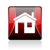 Home red square web glossy icon — Stock Photo