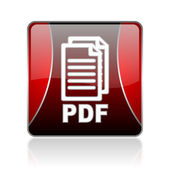Pdf red square web glossy icon — Stock Photo
