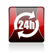24h red square web glossy icon — Stock Photo
