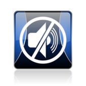 Mute blue square web glossy icon — Stock Photo