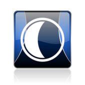 Moon blue square web glossy icon — Stock Photo