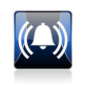 Alarm blue square web glossy icon — Stock Photo