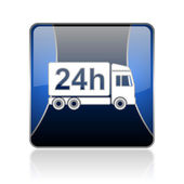 Delivery 24h blue square web glossy icon — Stock Photo