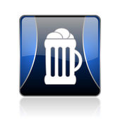 Beer blue square web glossy icon — Stock Photo