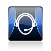 Customer service blue square web glossy icon — Stock Photo