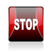 Stop red square web glossy icon — Stock Photo