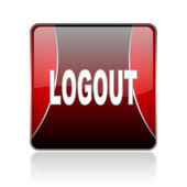 Logout red square web glossy icon — Stock Photo