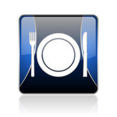 Food blue square web glossy icon — Stock Photo