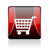 Shopping cart red square web glossy icon — Stock Photo