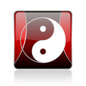 Ying yang red square web glossy icon — Stock Photo