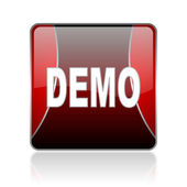 Demo red square web glossy icon — Stock Photo