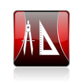 E-learning red square web glossy icon — Foto Stock