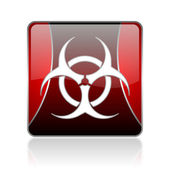Virus red square web glossy icon — Stock Photo