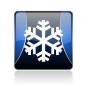 Snowflake blue square web glossy icon — Stock Photo