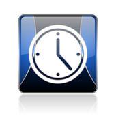 Clock blue square web glossy icon — Stock Photo
