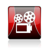 Cinema red square web glossy icon — Stock Photo