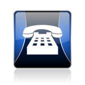 Phone blue square web glossy icon — Stock Photo
