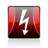 Lightning red square web glossy icon — Stock Photo