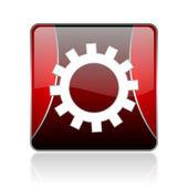 歯車赤い正方形ウェブ光沢のあるアイコン — ストック写真