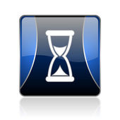 Time blue square web glossy icon — Stockfoto