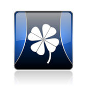 Four-leaf clover blue square web glossy icon — Stock Photo
