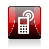 Cellphone red square web glossy icon — Stock Photo