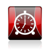 Alarm clock red square web glossy icon — Stock Photo