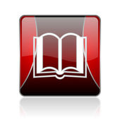 Book red square web glossy icon — Stock Photo