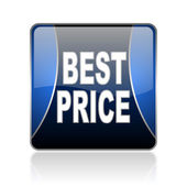 Best price blue square web glossy icon — Stock Photo