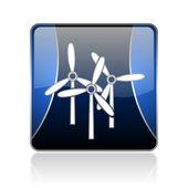 Windmill blue square web glossy icon — Stock Photo