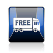 Free delivery blue square web glossy icon — Stock Photo