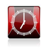 赤の広場 web 光沢のあるアイコンをクロックします。 — ストック写真