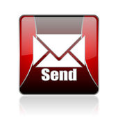 Send red square web glossy icon — Stock Photo