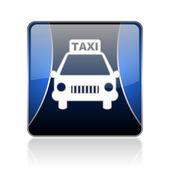 Taxi blue square web glossy icon — Stock Photo