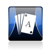 Playing cards blue square web glossy icon — Stock Photo