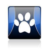 Animal footprint blue square web glossy icon — Stock Photo