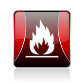 Flames red square web glossy icon — Stock Photo
