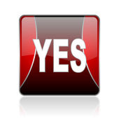 Yes red square web glossy icon — Stock Photo