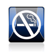 No smoking blue square web glossy icon — Stock Photo