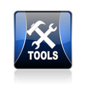 Tools blue square web glossy icon — Stock Photo