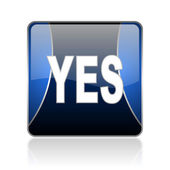 Yes blue square web glossy icon — Stock Photo
