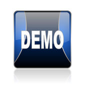 Demo blue square web glossy icon — Stock Photo