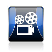 Cinema blue square web glossy icon — Stock Photo
