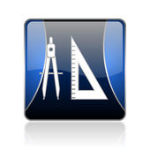 E-learning blue square web glossy icon — Stock Photo